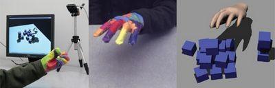 Смешные перчатки нереально трогают виртуальные вещи