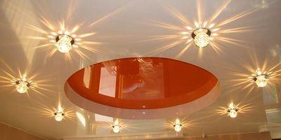 Выбор освещения интерьера для натяжного потолка